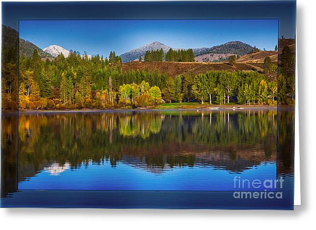 Methow Valley Digital Greeting Cards - Patterson Lake Cabins and Mt Gardner Landscape Art Greeting Card by Omaste Witkowski