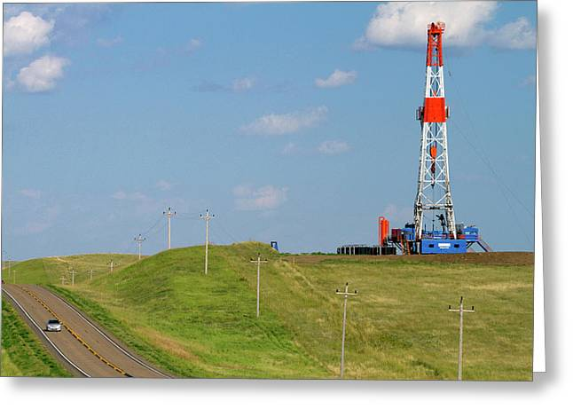 Patterson Uti Oil Drilling Rig Greeting Card by David R. Frazier