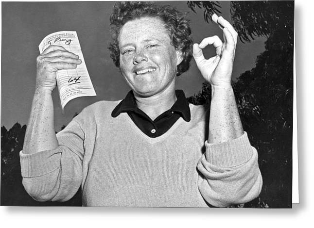 Lpga Greeting Cards - Patty Berg Shoots A 64 Greeting Card by Underwood Archives