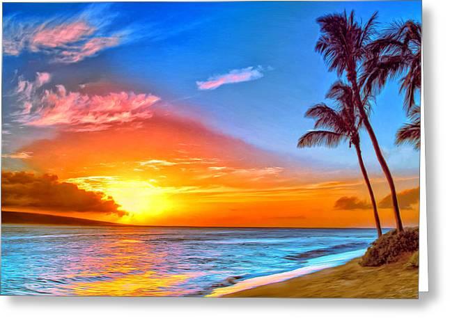Lahaina Greeting Cards - Pau Hana Sunset Maui Greeting Card by Dominic Piperata