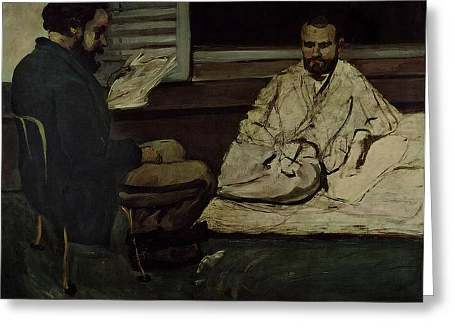 Novelist Greeting Cards - Paul Alexis 1847-1901 Reading A Manuscript To Emile Zola 1840-1902 1869-70 Oil On Canvas Greeting Card by Paul Cezanne