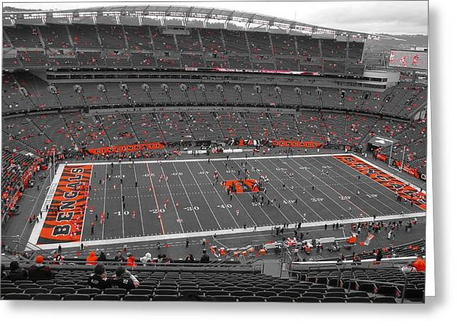 Goal Line Greeting Cards - Paul Brown Stadium Greeting Card by Dan Sproul