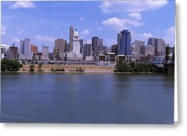 River Photography Greeting Cards - Paul Brown Stadium With John A Greeting Card by Panoramic Images