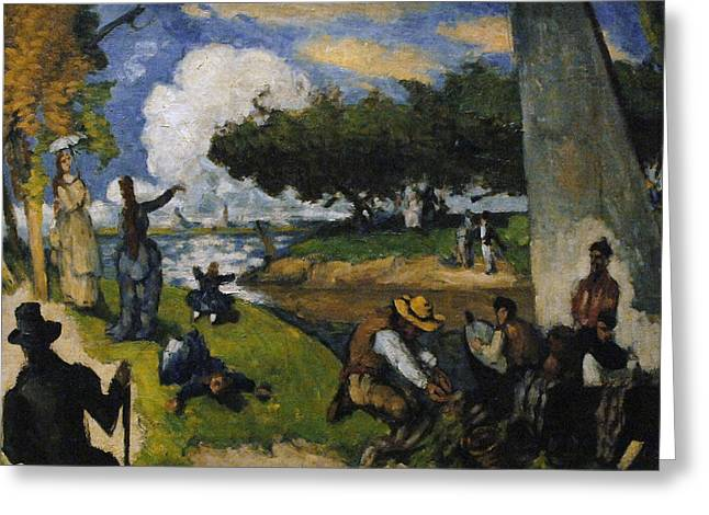 New York The Metropolitan Museum Of Art Greeting Cards - Paul Cezanne 1839-1906. The Fishermen Fantastic Scene. Ca. 1875 Greeting Card by Bridgeman Images