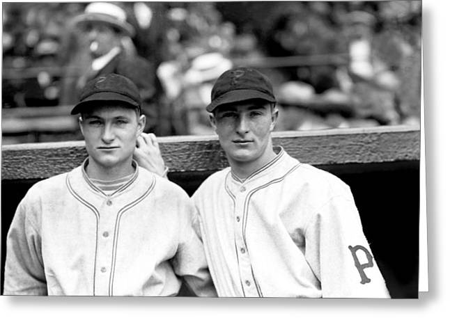 Pirates Photographs Greeting Cards - Paul G. Waner with Lloyd Waner Greeting Card by Retro Images Archive