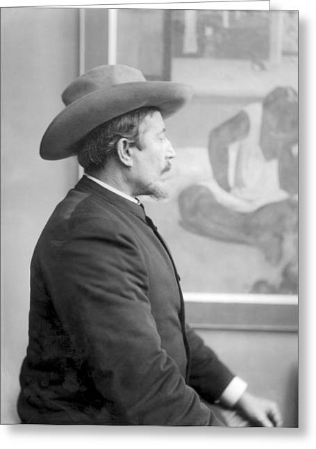 Pensive Greeting Cards - Paul Gauguin 1848-1903 In Front Of His Canvases, C.1893 Bw Photo Greeting Card by French Photographer