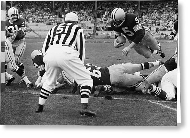 Paul Hornung Touchdown Greeting Card by Gianfranco Weiss