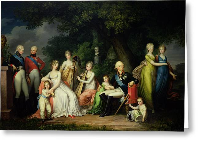 Duchess Greeting Cards - Paul I 1754-1801, Maria Feodorovna 1759-1828 And Their Children, C.1800 Oil On Canvas Greeting Card by Franz Gerhard von Kugelgen