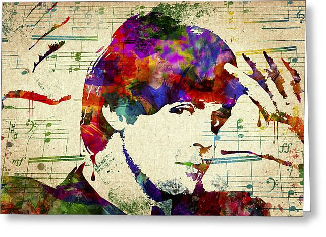 1960 Mixed Media Greeting Cards - Paul McCartney Greeting Card by Aged Pixel