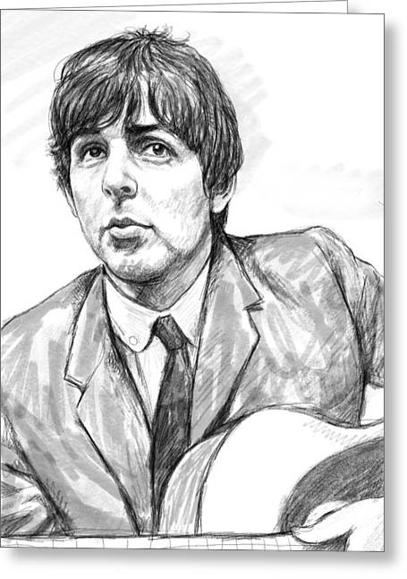 Paul Mccartney Drawings Greeting Cards - Paul McCartney art drawing sketch portrait Greeting Card by Kim Wang