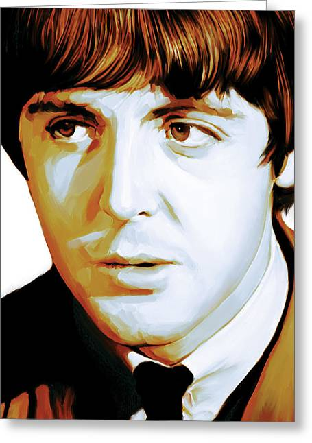 Music Greeting Cards - Paul McCartney Artwork Greeting Card by Sheraz A
