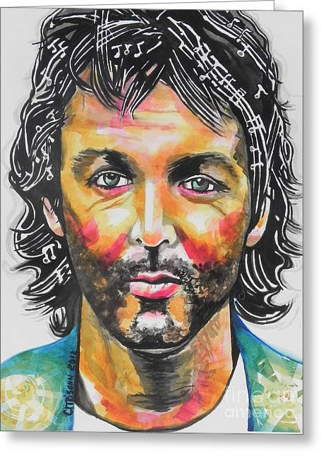 Famous Artist Greeting Cards - Paul McCartney Greeting Card by Chrisann Ellis