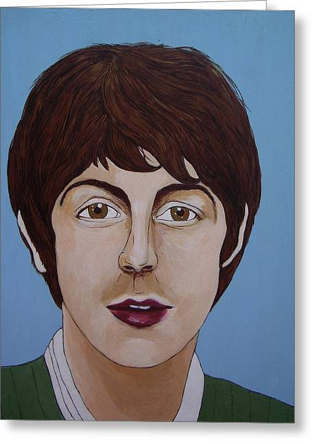 Paul Mc Cartney Greeting Cards - Paul McCartney Greeting Card by Linda Kassabian