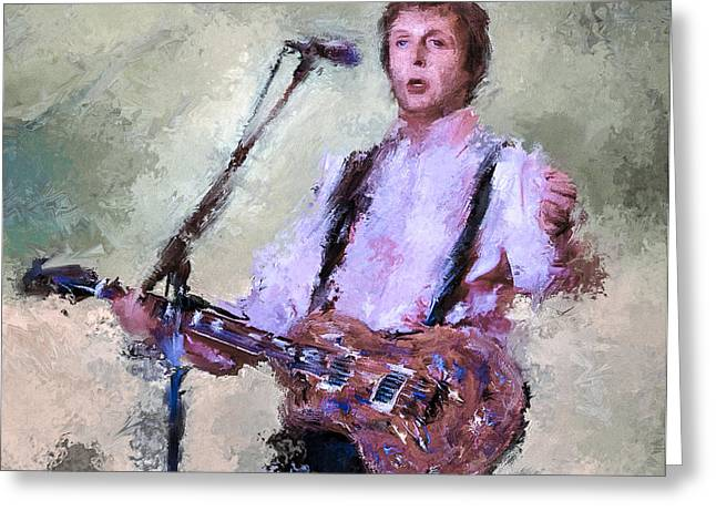 Paul Mccartney Greeting Cards - Paul McCartney Live Greeting Card by Yury Malkov