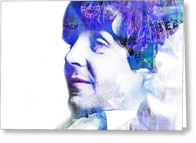 Lennon Mixed Media Greeting Cards - Paul McCartney  Greeting Card by Mike Maher