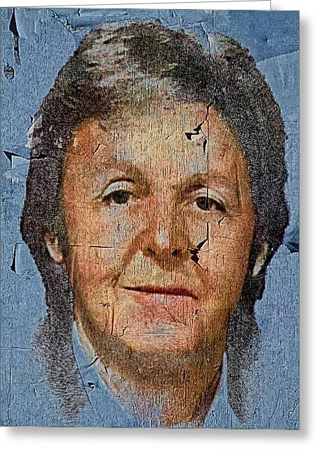 Live Music Greeting Cards - Paul McCartney on blue board Greeting Card by Yury Malkov
