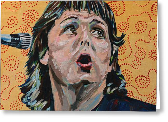 Paul Mccartney Portrait Greeting Card by Robert Yaeger