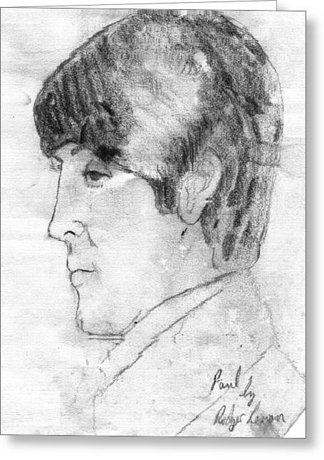 Apple Records Greeting Cards - Paul McCartney Profile Greeting Card by Rodger Larson