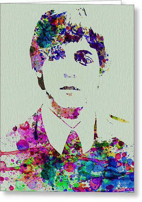 Beatles Paintings Greeting Cards - Paul McCartney Watercolor Greeting Card by Naxart Studio