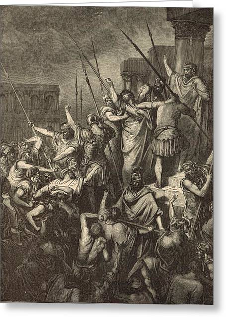 Paul Menaced By The Jews Greeting Card by Antique Engravings