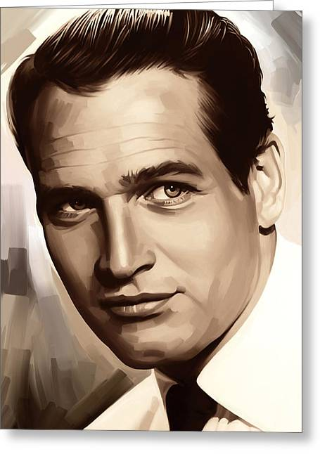 Celebrity Prints Greeting Cards - Paul Newman Artwork 1 Greeting Card by Sheraz A