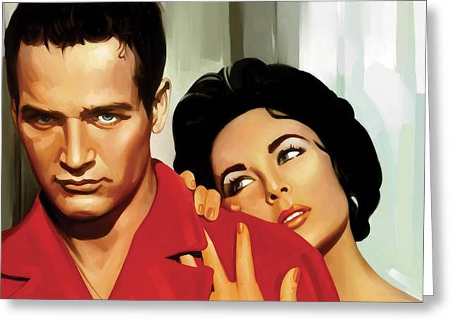 Celebrity Prints Greeting Cards - Paul Newman Artwork 3 Greeting Card by Sheraz A