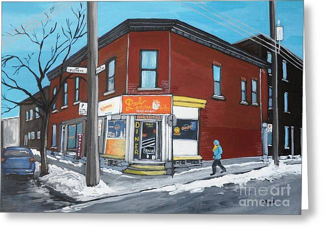 City Of Montreal Paintings Greeting Cards - Paul Patate Pte St Charles Greeting Card by Reb Frost