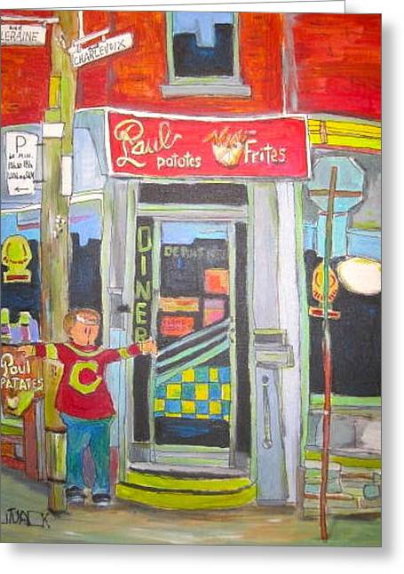 Hot Dog Joints Greeting Cards - Paul Patates Montreal Chip Bar Montreal Memories Greeting Card by Michael Litvack