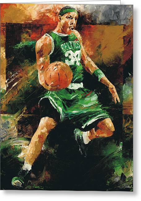 Dunking Paintings Greeting Cards - Paul Pierce Greeting Card by Christiaan Bekker
