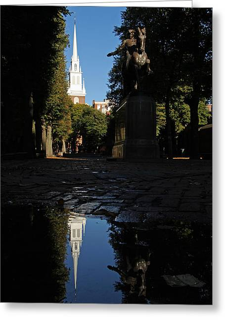 Old North Church Greeting Cards - Paul Revere and the Old North Church Greeting Card by Juergen Roth