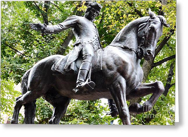 Historic Statue Greeting Cards - Paul Reveres Ride 2 Greeting Card by Lisa Kilby