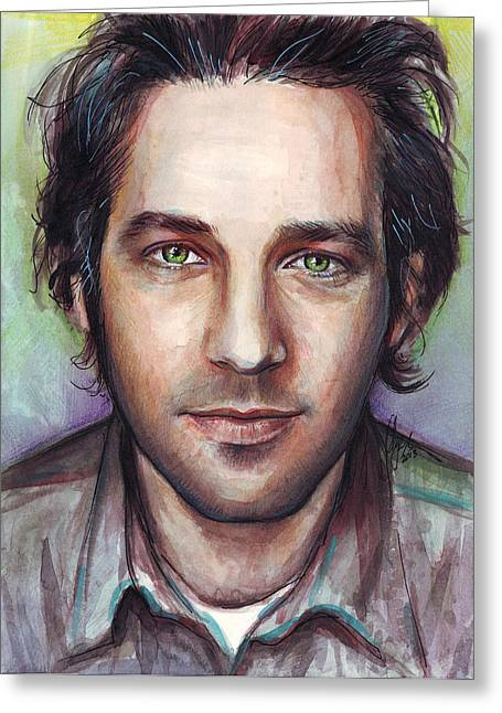 Celebrity Mixed Media Greeting Cards - Paul Rudd Portrait Greeting Card by Olga Shvartsur