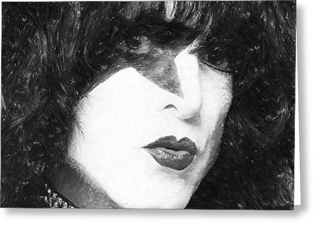 Concerts Pastels Greeting Cards - Paul Stanley Greeting Card by Antony McAulay