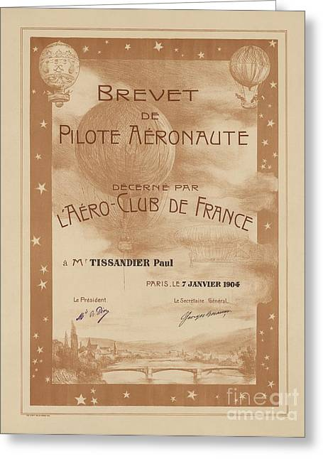 Besancon Greeting Cards - Paul Tissandiers Balloon License, 1904 Greeting Card by Library Of Congress