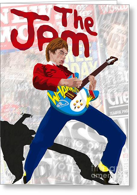 New Britain Digital Art Greeting Cards - Paul Weller Wham Greeting Card by Neil Finnemore