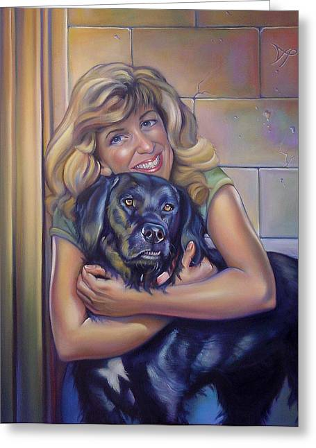 Portrait Commissions Greeting Cards - Commissioned Portrait of Paula and Bo Greeting Card by Patrick Anthony Pierson