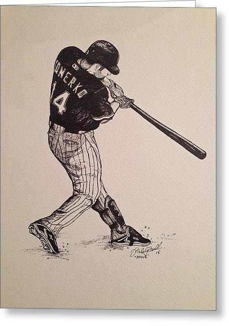 Red Sox Mixed Media Greeting Cards - Paulie Greeting Card by Michael  Parrella