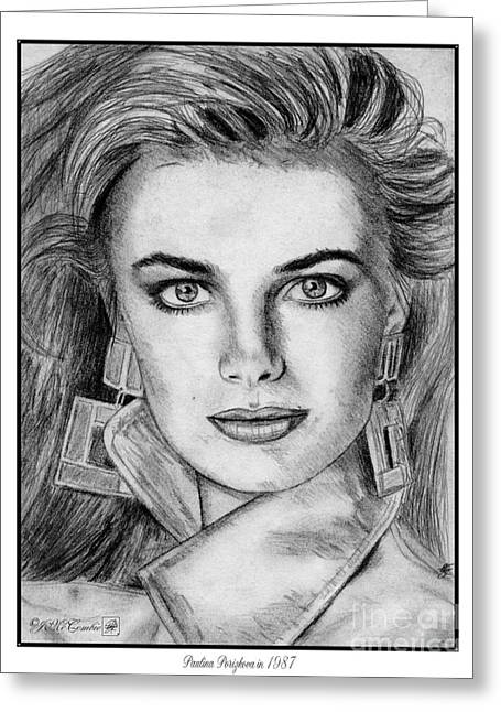 Fame Drawings Greeting Cards - Paulina Porizkova in 1987 Greeting Card by J McCombie
