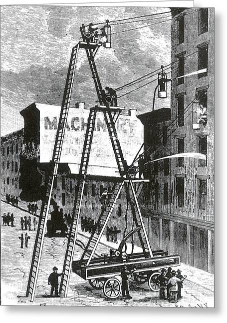Brigade Greeting Cards - Paulys Fire Apparatus, 1893 Greeting Card by Science Source