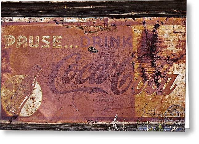 Pause Greeting Cards - Pause Drink Coca Cola Old Sign Greeting Card by JW Hanley