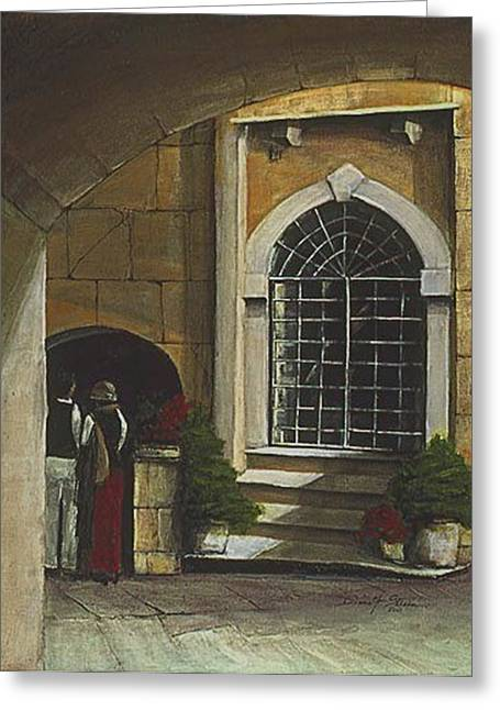 Entryway Mixed Media Greeting Cards - Pause on a Venice Afternoon Greeting Card by Diane Strain