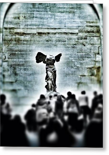 """winged Victory"" Greeting Cards - Pause - The Winged Victory in Louvre Paris Greeting Card by Marianna Mills"
