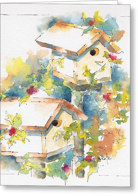 Sienna Greeting Cards - Pausegarden Birdhouses Greeting Card by Pat Katz