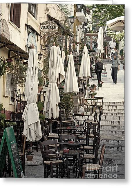 Recesses Greeting Cards - Pavement cafe of Athens Greeting Card by Aiolos Greek Collections