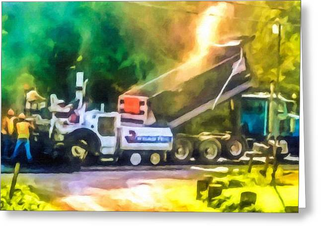 Recently Sold -  - Layer Greeting Cards - Pavement machine laying fresh asphalt  on top of the gravel base during highway construction Greeting Card by Lanjee Chee