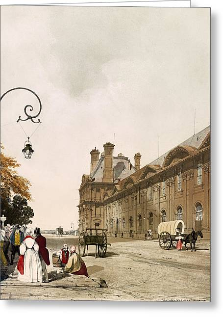 Wagon Drawings Greeting Cards - Pavilion de Flore Paris Lithograph 1839 Greeting Card by Thomas Boys