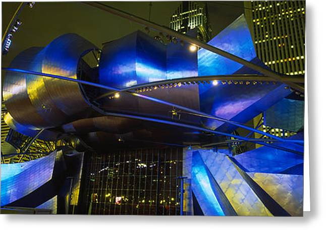 Night Scenes Greeting Cards - Pavilion In A Park Lit Up At Night Greeting Card by Panoramic Images