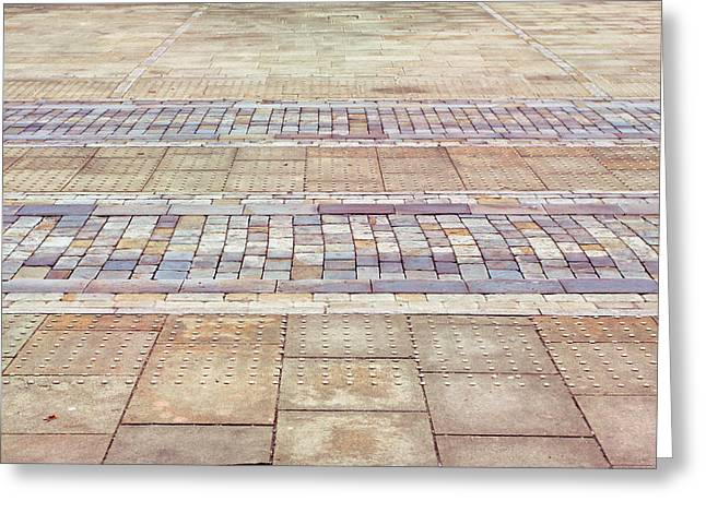 Patterned Pavement Greeting Cards - Paving background Greeting Card by Tom Gowanlock