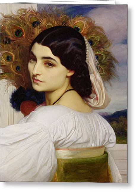 Melancholy Greeting Cards - Pavonia, 1859 Greeting Card by Frederic Leighton