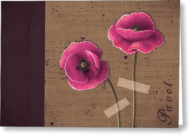 Pink Poppies Greeting Cards - Pavot - s02c11b Greeting Card by Variance Collections